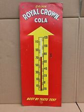 """Vintage Royal Crown Cola Sign Embossed 25"""" x 10"""" Not a Therm it's a Sign"""