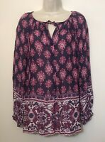 Lucky Brand Small Tunic Top Purple Long Sleeve Relaxed Fit Button Boho Blouse