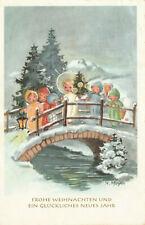 Glückwunsch-Karte Weihnachten, Christkind auf Brücke mit Christbaum    (U6)