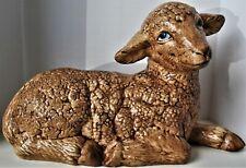 Large Vintage Hobby Ceramics Laying Down Baby Lamb Figurine