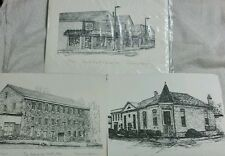 3 Etching Drawing Laurel Meat Market Avondale Mill Citizen's Bank, Marian Quinn