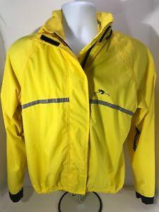 Bellwether Womens Medium Yellow Full Zip Cycling Jacket With Stowaway Hood
