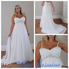 Hot White/ivory Bridal Gown Chiffon Wedding Dress Plus Size16 18 20 22 24 26W