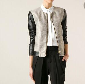 BY MALENE BIRGER 'Shibani' Metallic Bomber Leather Sleeve Jacket EUR38 £435