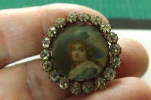 1800s SCARCE VINTAGE METAL AND PASTE BUTTON A LADIES PORTRAIT 3cms (2461)