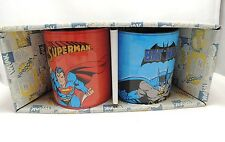 DC Comics Batman Superman Ceramic Coffee Mug 14 oz Box Set of 2 New