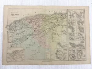 1877 Antique Map of French Colonies Colonial France Hand Coloured 19th Century
