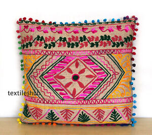 """16"""" Indian Vintage Jute Suzani Embroidered Sofa Cushion Cover Decor Pillow"""