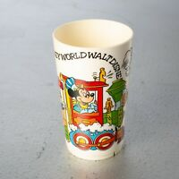Vintage WALT DISNEY WORLD Plastic Cup with Mickey Mouse and Friends Riding Train