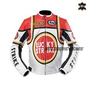Lucky strike motorbike leather jacket racing bike jacket with ce armour any size