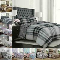 Soft Cotton Duvet Cover With Fitted Sheet & Pillow Shams Complete Bedding Set