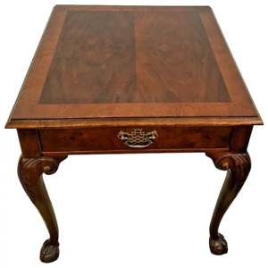Baker Furniture  Square Table Drawer Banded Mahogany Chippendale ball claw legs