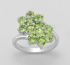19mm Wide Solid Sterling Silver Green Peridot Flower Ring sz 8 GLAMOROUS 5.93g