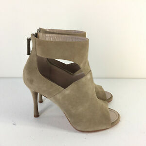 New DKNY 5.5 Lucia Bootie peep toe Taupe Brown Beige Suede High Heel Career Chic
