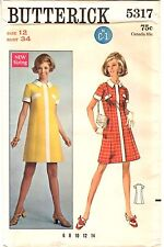 "Vintage 1960s Butterick Sewing Pattern Women's DRESS 5317 Size 12 Bust 34"" UNCUT"