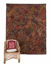 ROYAL ANTIQUE RARE HANDMADE -SUPERB TAPESTRY FINE ZARI -WALL HANGING PATCHWORK