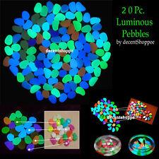20 Pc. Colorful Luminous Pebbles Night Glow Light Stones Aquarium Decoration