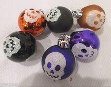 """(6) Halloween Glitter Plastic Skull Ball 2"""" Ornaments Decorations"""