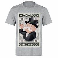 MONOPOLY MAN GREED IS GOOD MONEY MONEY MONEY UNISEX PH61 GREY T-SHIRT