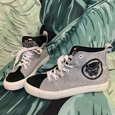Men's Marvel BLACK PANTHER Gray Canvas High Top Sneakers Shoes Size 8