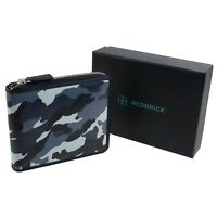Redbrick Leather Mens Zip-around Wallet Grey Camouflage RFID Protected