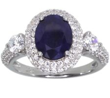 Diffusion Sapphire Gemstone Oval Sterling Silver Ring size L