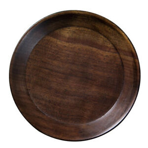 Wooden Plate Round Serving Tray Black Walnut Wood Dish Dessert Fruit Platter