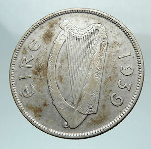 1939 IRELAND Silver with HORSE and LYRE HARP Vintage Genuine IRISH Coin i80246
