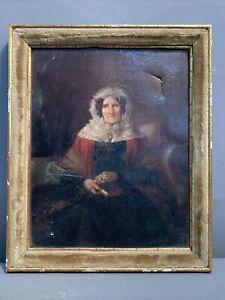 19thC Antique VICTORIAN Era PRIMITIVE Old LADY in BONNET Oil PORTRAIT PAINTING