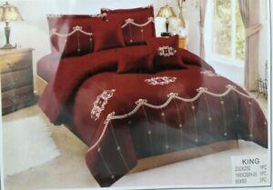 4pcs Luxury Comforter Set Washable Soft Bedding Set w/ 2 Pillows King Size Red
