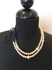 NEW Lee Angel Multi Strand Pearl Necklace W Grosgrain Ribbon & Swarovski Brooch
