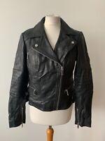 OASIS Genuine Leather Black Biker Jacket Size M NEW