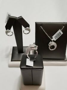 RING PENDANT AND EARRINGS STERLING SILVER AND DIAMONDS LADIES PANTHER SET