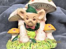 VINTAGE CERAMIC GNOME ELF UNDER MUSHROOMS AND COLORED FLOWERS FIGURE