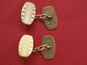 Genuine 9ct Yellow Gold Engine Turned Patterned Oval Chain Cufflinks 7.10 grams