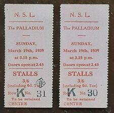 1939 2 x N. S. L. The Palladium Ticket Stubs
