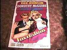 INVITATION MOVIE POSTER '51 VAN JOHNSON