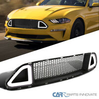 For 15-17 Ford Mustang Front Upper Bumper Honeycomb Mesh Grille w/ LED Light Bar