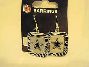 Pick Your NFL Football Team Charm Color ZEBRA Stripe Silver Dangle Drop Earrings