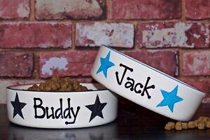large 25cm dog bowl personalised ceramic dog bowl hand Painted dog feeder dish