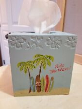 Tissue Kleenex Cube Box Cover Surfing Surfboard Beach Ocean Paradise Tropical
