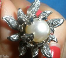 CELEBRITY OWNED ESTATE HEAVY DIAMONDS & SOUTH SEA PEARL 14K WG RING OFFER
