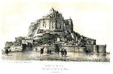 gravure lithographie XIX° Mont Saint Michel Manche par Pigault