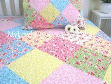 Colourful Spring Summer Patchwork BEDSPREAD Quilt 2pc Set King Single 186x237cm