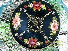 ANTIQUE VINTAGE BLACK TIN TOLE SERVING TRAY ONE TIER HAND PAINTED FLOWERS