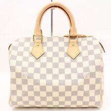 Auténtico Louis Vuitton Bolso de Mano Speedy 25 N41534 Blancos Damier Azur