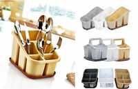 Plastic 3/4/5 Compartment Sink Tidy Cutlery Drainer Caddy with Handle Organiser