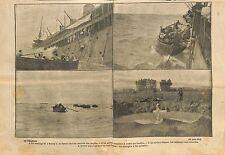 Naufrage Sontay Kaiserliche Marine submarine UC 33 Torpedo WWI 1917 ILLUSTRATION