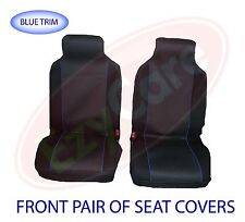 FORD FIESTA VAN (02-11) FABRIC BLUE TRIM VAN SEAT COVERS 2 SINGLE 1+1