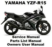 YAMAHA YZF-R15 150 V.1 Owners Workshop Service Repair Parts Manual PDF on CD-R